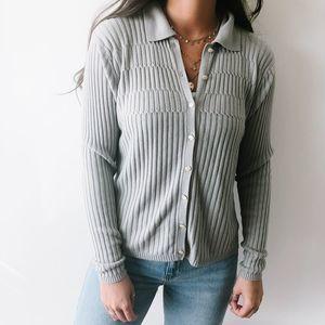 Vintage Gray Thin Cardigan Top L